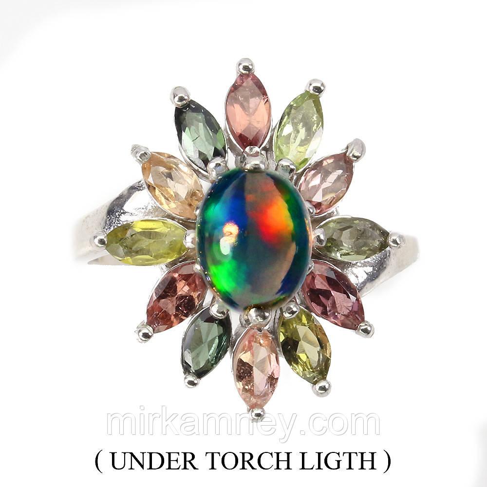 Кольцо Опал (Эфиопия), Турмалин.Размер кольца 17.Серебро 925,покрытие золотом 14 карат