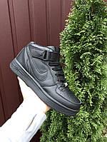 Мужские кожаные ботинки Nike Air Force зимние черные кроссовки в стиле найк
