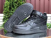 Женские зимние кроссовки Nike Air Force 1 Shadow черные. Зимняя детская и подростковая обувь