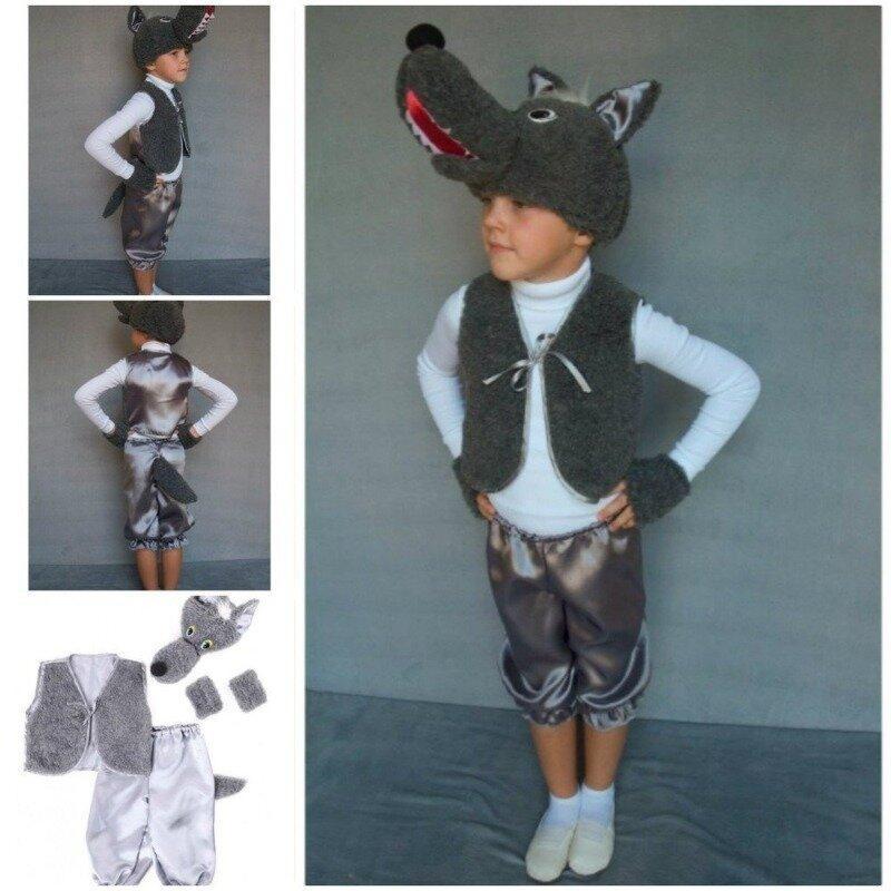Детский карнавальный новогодний костюм волк, рост 95-120, возраст 3-6
