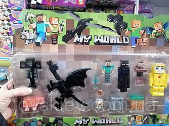 Фигурки Minecraft Герои Майнкрафт 5 фигурок, дракон, поросенок, цыпленок, оружие, аксессуары JL18333-2