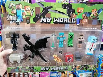 Фигурки Minecraft Герои Майнкрафт 5 фигурок, дракон, овечка, тигр, оружие, аксессуары JL18333-3