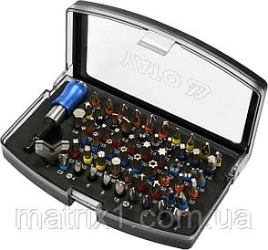 Набор бит, адаптер для бит, сталь AISI S2, 59 предметов, в пластиковом кейсе// YATO