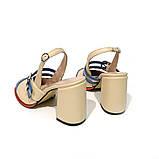 Туфли с открытой пяточной частью и прозрачным ремешком, каблук 8см, цвет молочный/синий, в наличии размер 38, фото 3