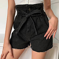Джинсовые шорты женские с завышенной талией черные