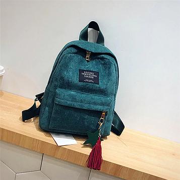 Женский зеленый вельветовый рюкзак с брелком код 3-424