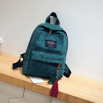 Жіночий зелений вельветовий рюкзак з брелоком код 3-424
