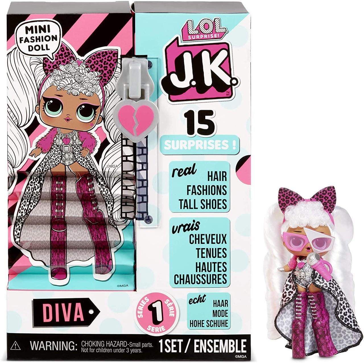Кукла ЛОЛ леди Дива L.O.L. Surprise! JK Diva Mini Fashion Doll with 15 Surprises