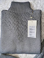 Женский вязаный брючный зимний серый костюм