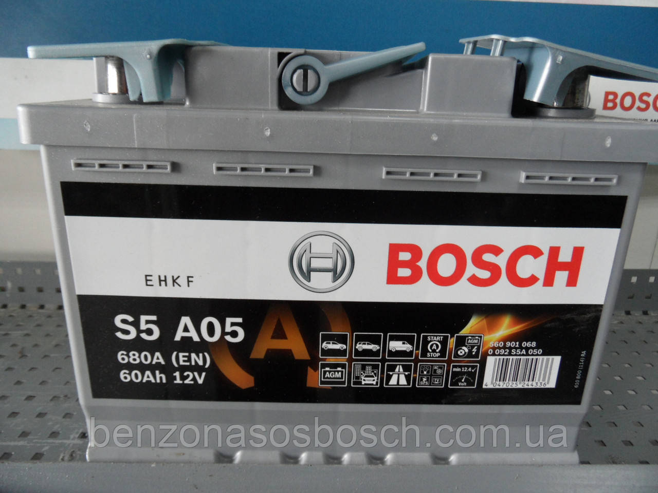 Автомобильный, аккумулятор,АКБ, BOSCH, 0092S5A050, AGM 60 A/h -/+