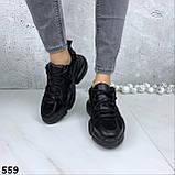 Кроссовки женские черные зима 559, фото 4