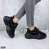 Кроссовки женские черные зима 559, фото 6