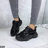 Кроссовки женские черные зима 559, фото 5