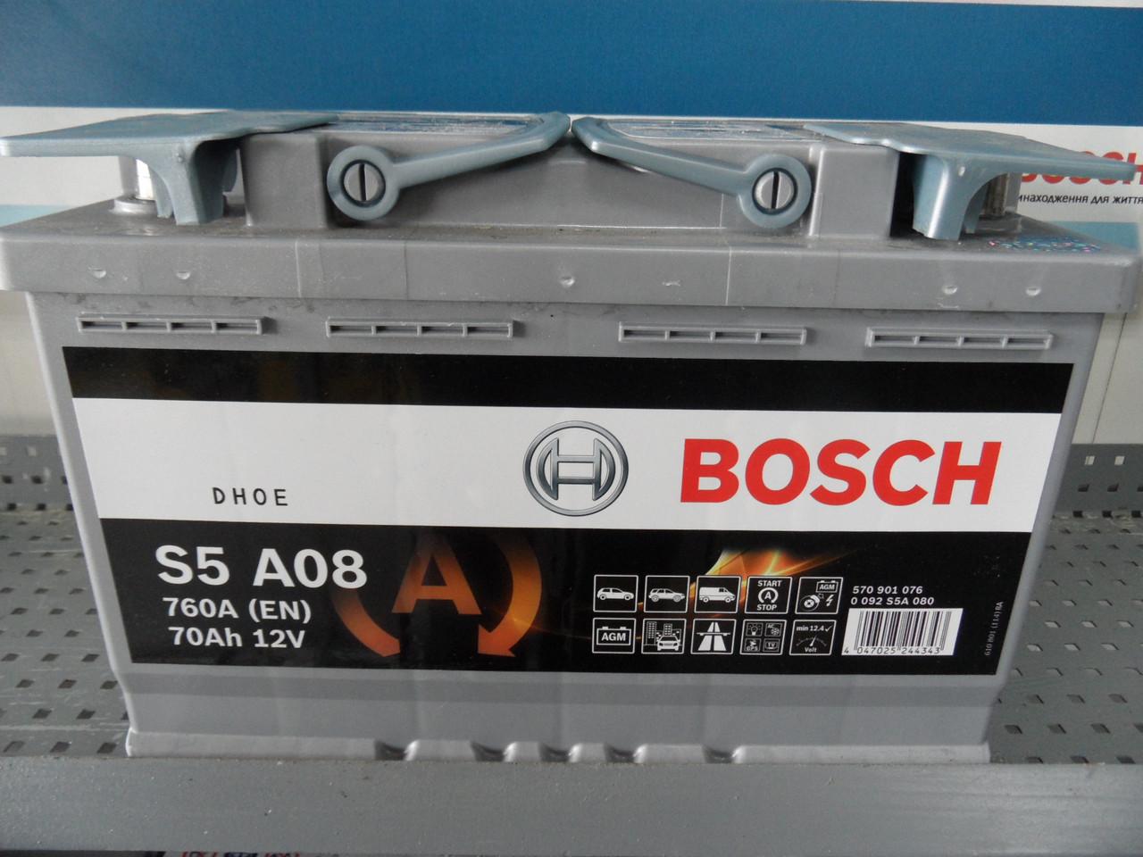 Автомобильный, аккумулятор, BOSCH, 0092S5A080, 70Ah -+ AGM, Bosch Silver 70 Ач, 760А, -+