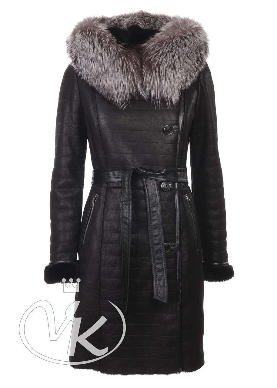 Женская дубленка с мехом чернобурки натуральная черная 48 размера (Арт. NAP2-101)