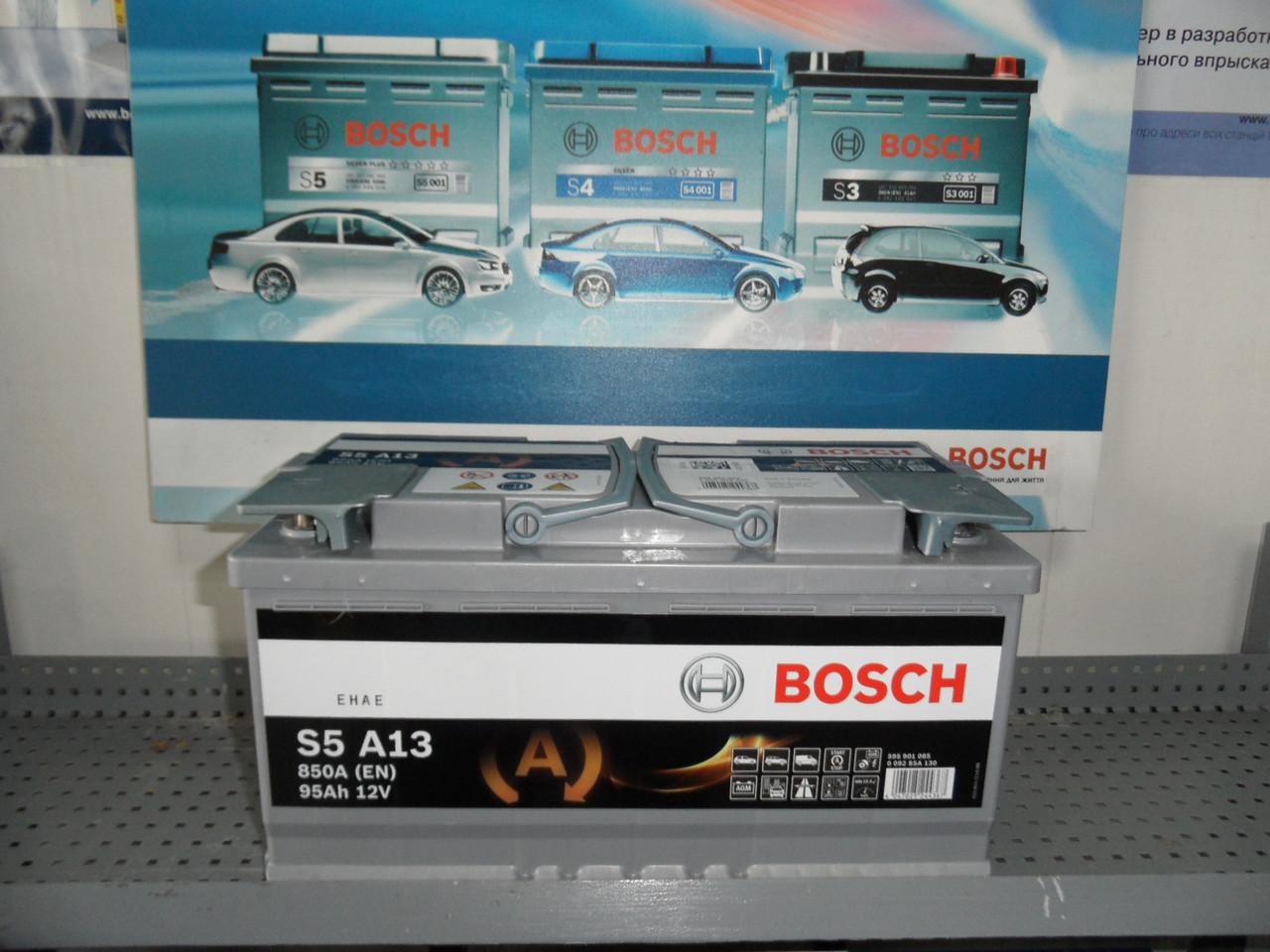 Автомобильный аккумулятор, BOSCH,0092S5A130, AGM 95Ah-+,АКБ.