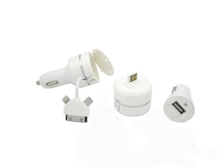 "АЗУ ""Car Charger"" USB выход + кабель рулетка 3 в 1"