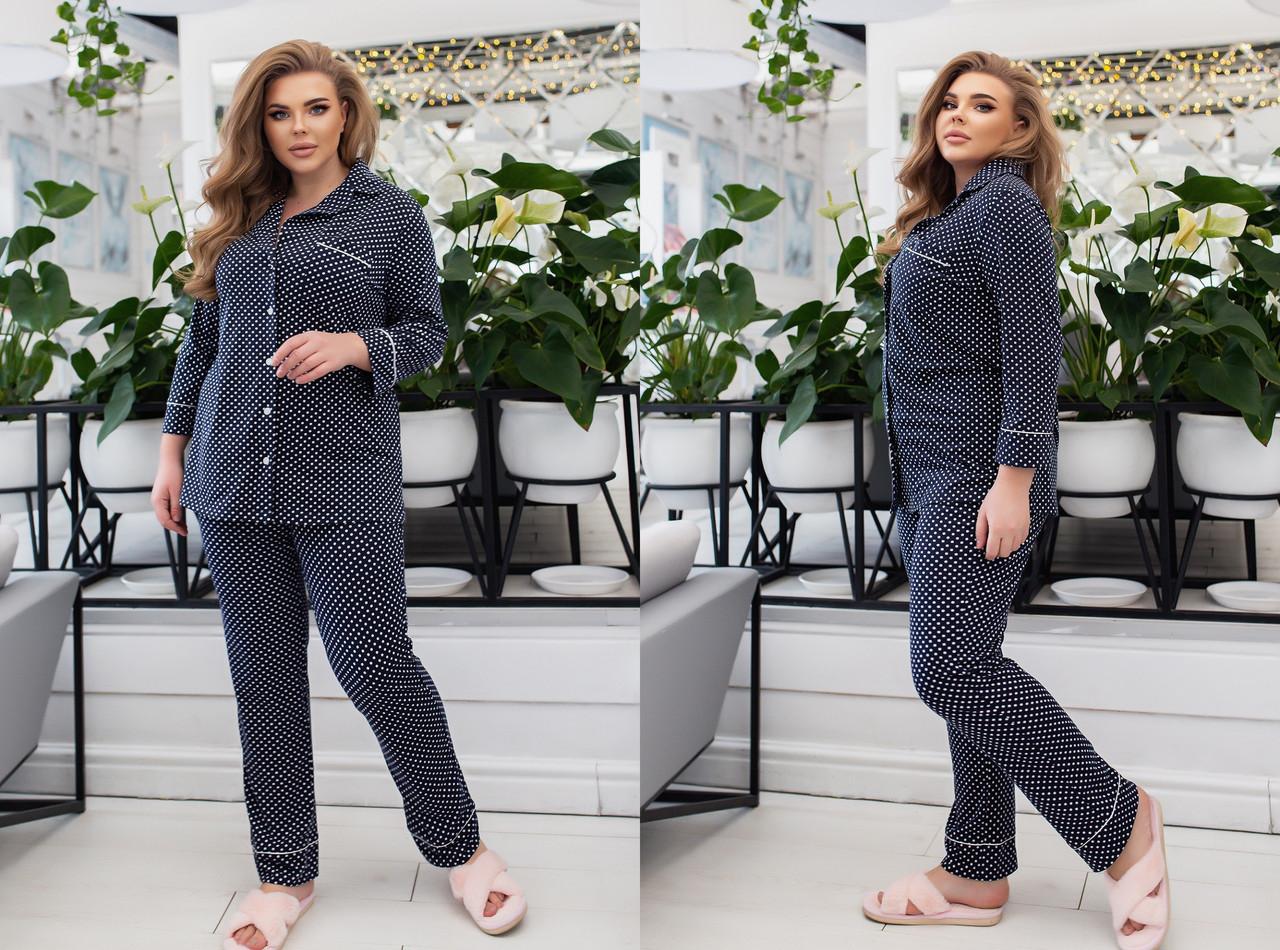 Трикотажная пижама женская Размер 42 44 46 48 50 52 54 56 58 60 В наличии 3 цвета