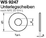 """WS 9247 (NFE 25-514 L) : нержавеющая шайба широкая """"французская"""" тип L, фото 2"""