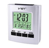 Говорять настільний годинник Vst-7027c, з термометром gray