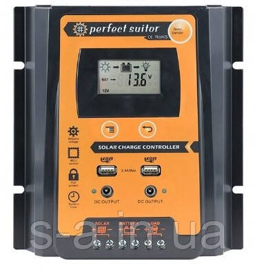 PVSC50A 50А 12/24В MPPT  Контроллер заряда солнечных батарей (модулей) с Дисплеем + 2USB Контрлер заряду