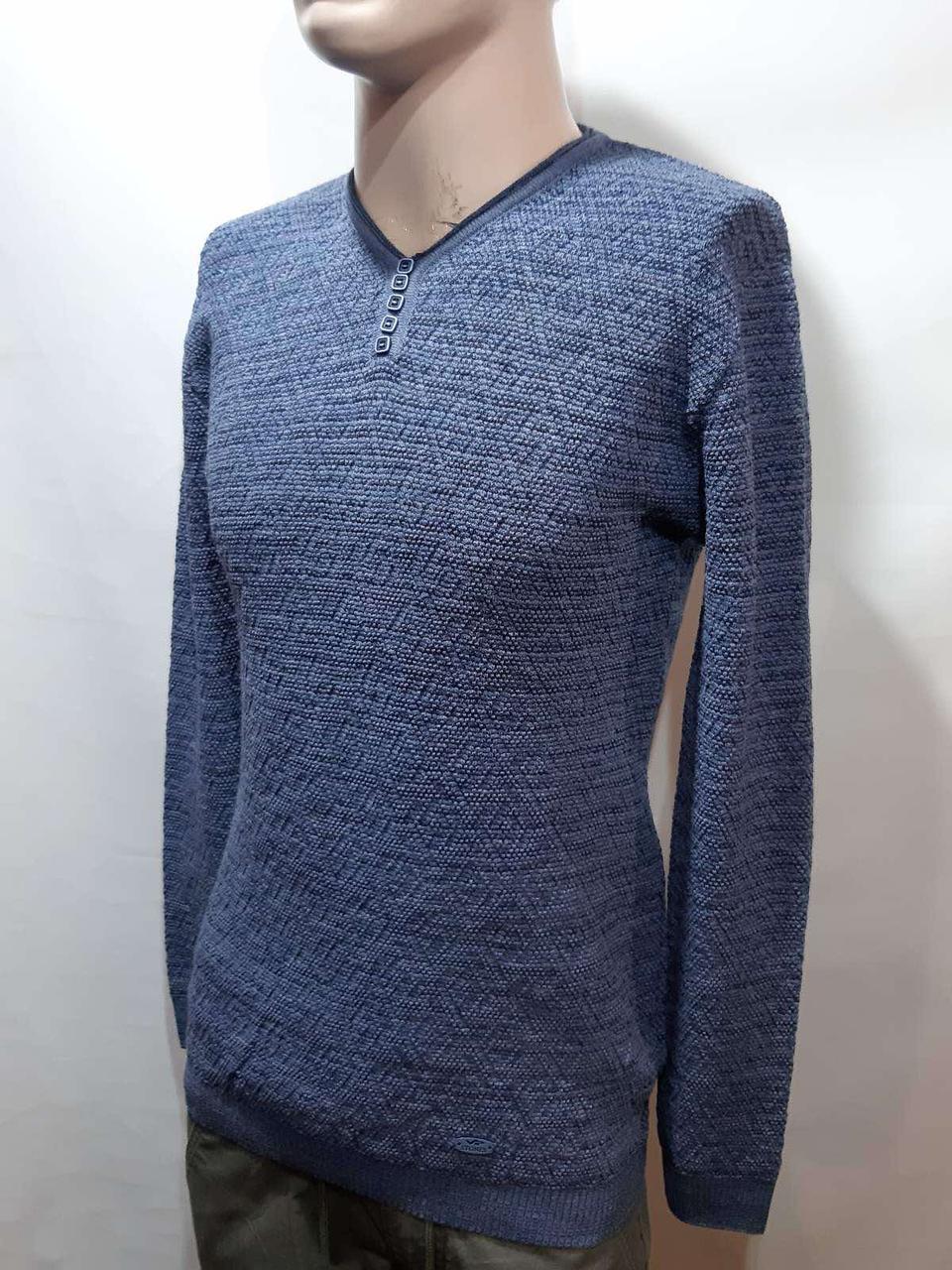 Мужской шерстяной батник весенний свитер Vip Stones кофта отличного качества Турция Синий