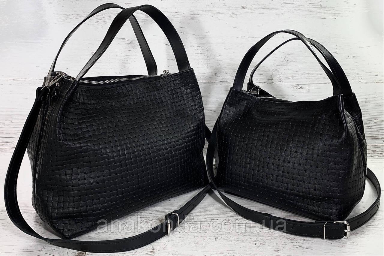 521-XL Натуральная кожа, Сумка женская черная с тиснением 3D кожаная черная женская сумка мягкая
