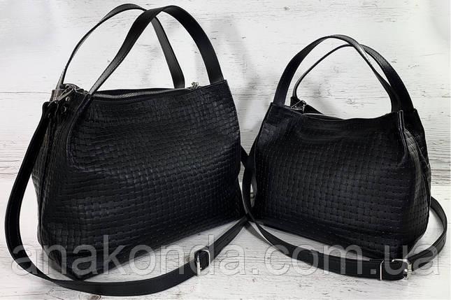 521-XL Натуральная кожа, Сумка женская черная с тиснением 3D кожаная черная женская сумка мягкая, фото 2