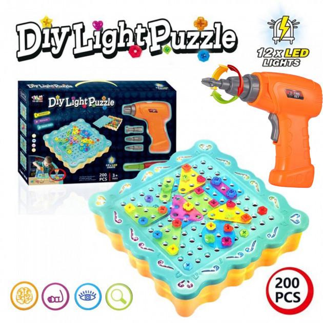 Мозаика детская винтовая конструктор с подсветкой и шуруповертом Diy Light Puzzle 200 элементов
