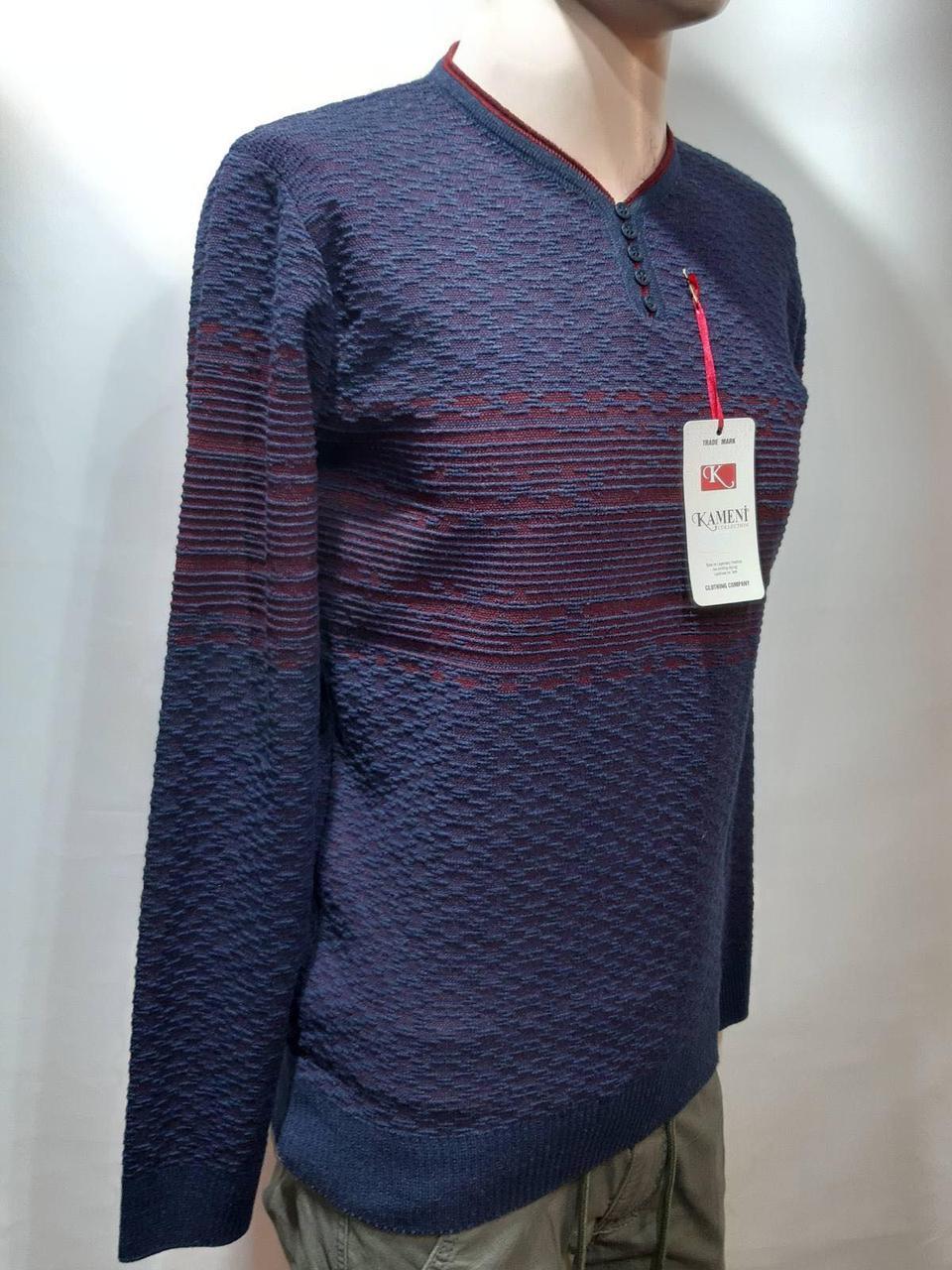 Мужской шерстяной свитер батник р. Л Kameni кофта отличного качества Турция Синий последний