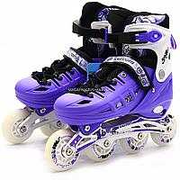 Роликовые кольни Scale Sports фиолетовые, размер 39-42, металл, светящиеся колёса ПУ LF905L