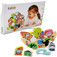 Деревянная игрушка для малышей балансир Cubika с гномами, 11 деталей (13937)