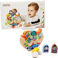 Деревянная игрушка для малышей балансир Cubika с пиратами, 11 деталей (13920)