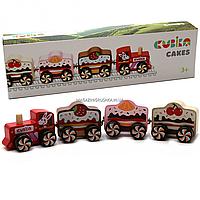 Деревянная игрушка Левеня Cubika Поезд Cakes на магнитах (15382)