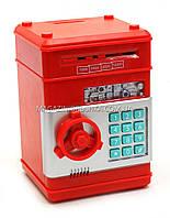 Копилка MK 1928 сейф с кодом, затягивает купюры Красный