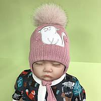 """Зимняя вязанная шапочка с меховым помпоном """"Котенок"""", пудра, размеры 40. 42, фото 1"""