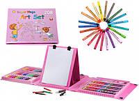 Набор для рисования и творчества с мольбертом в чемоданчике 208 предметов Super Mega Art Set Розовый