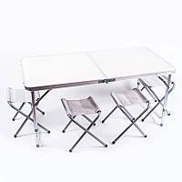 """Стол туристический, алюминий, пластик """"бамбук"""", 4 стула Белый"""