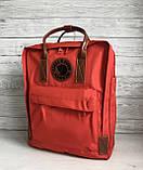 Стильный женский рюкзак-сумка канкен Fjallraven Kanken No.2 красный с коричневыми ручками 16 литров, фото 5