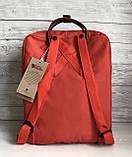 Стильный женский рюкзак-сумка канкен Fjallraven Kanken No.2 красный с коричневыми ручками 16 литров, фото 4