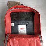 Стильный женский рюкзак-сумка канкен Fjallraven Kanken No.2 красный с коричневыми ручками 16 литров, фото 10