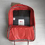 Стильный женский рюкзак-сумка канкен Fjallraven Kanken No.2 красный с коричневыми ручками 16 литров, фото 9