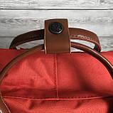 Стильный женский рюкзак-сумка канкен Fjallraven Kanken No.2 красный с коричневыми ручками 16 литров, фото 6