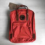 Стильный женский рюкзак-сумка канкен Fjallraven Kanken No.2 красный с коричневыми ручками 16 литров, фото 8