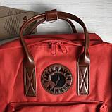 Стильный женский рюкзак-сумка канкен Fjallraven Kanken No.2 красный с коричневыми ручками 16 литров, фото 7
