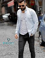 Рубашка мужская с длинным рукавом Rubaska джинсовая, фото 1