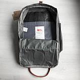 Модный женский рюкзак сумка канкен темно-серый с коричневыми ручками 16 литров Fjallraven Kanken No.2, фото 8