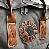 Модный женский рюкзак сумка канкен темно-серый с коричневыми ручками 16 литров Fjallraven Kanken No.2, фото 5