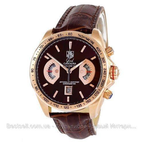 Годинники чоловічі наручні Tag Heuer Grand Carrera Calibre 17 Quartz Brown-Gold-Brown / репліка ААА класу /