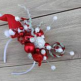 Новорічний обруч, Капелюшок санти на обручі, обруч на новорічне Свято, фото 6